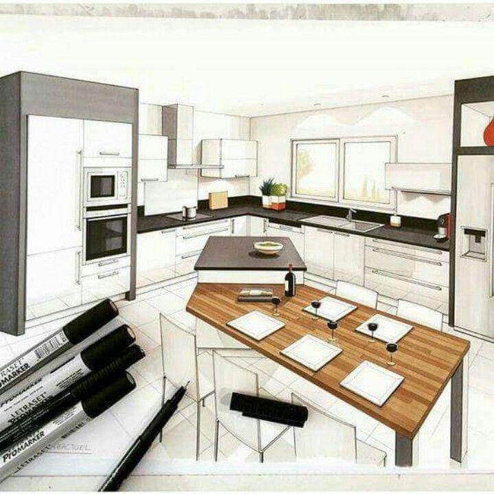 Pingl par alexandre gossez sur design produit for Perspective cuisine dessin