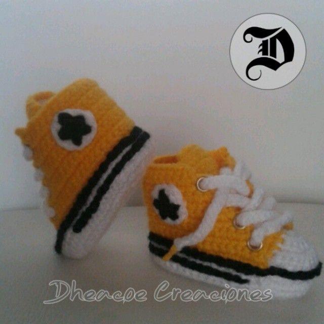 Zapatillas tipo converse tejidas a crochet #converse #crochet ...
