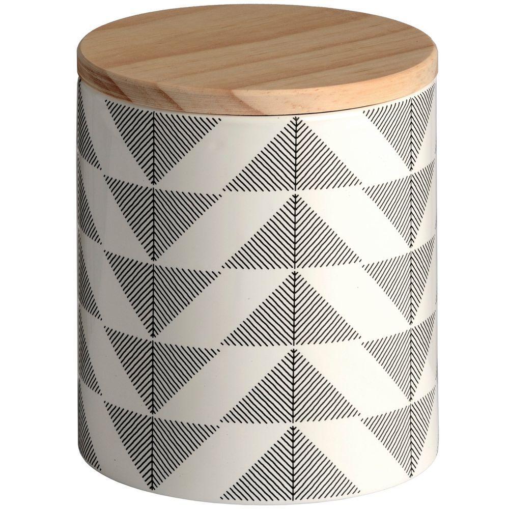 SET OF 3 Grey and White Ceramic Decorative Geometric Storage Jar ...