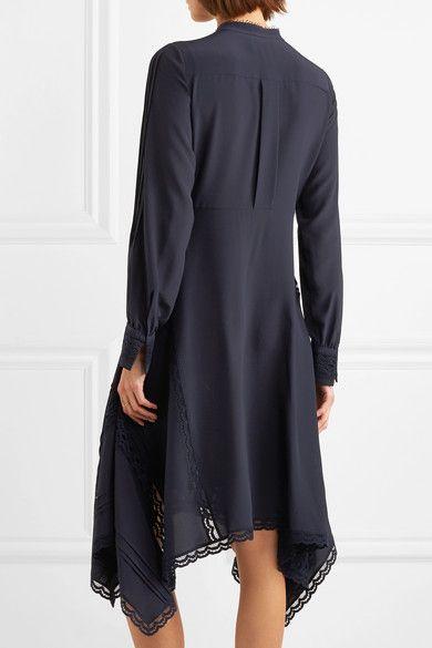 Lace-trimmed Silk Crepe De Chine Midi Dress - Navy Chloé BYtAWYZg
