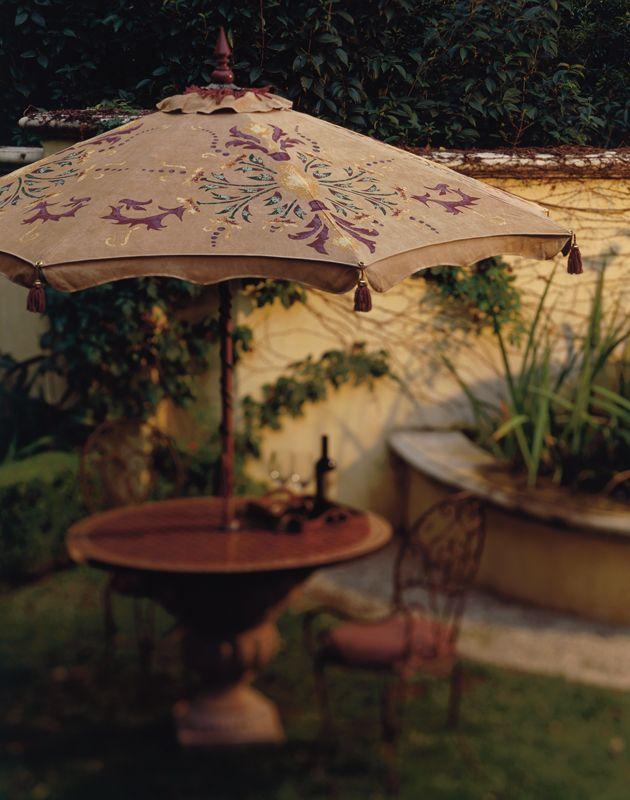 Hand Print Pattern Painted Patio Umbrella,