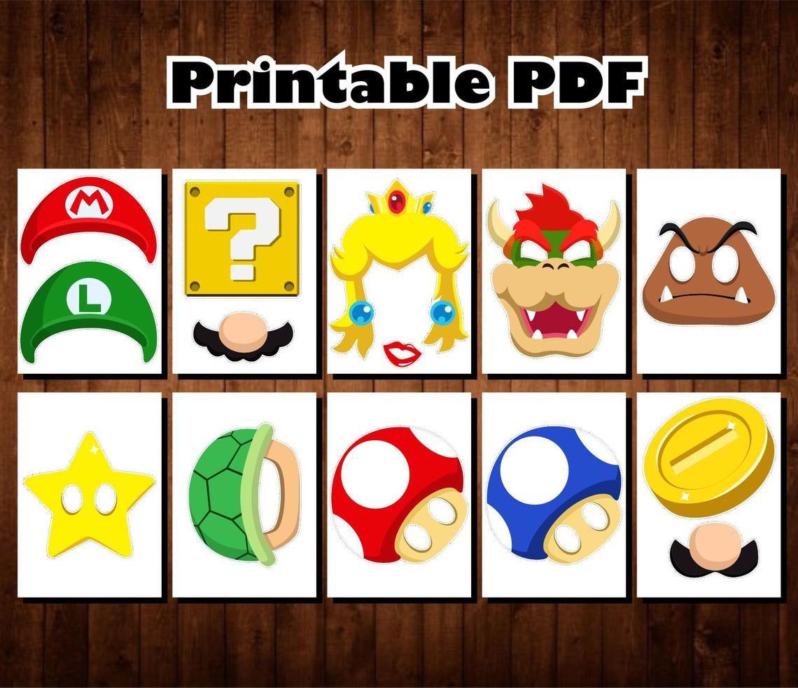 Super Mario Photo Booth Props Printable Pdf Mario Party Etsy Super Mario Bros Party Super Mario Bros Birthday Party Mario Bros Birthday