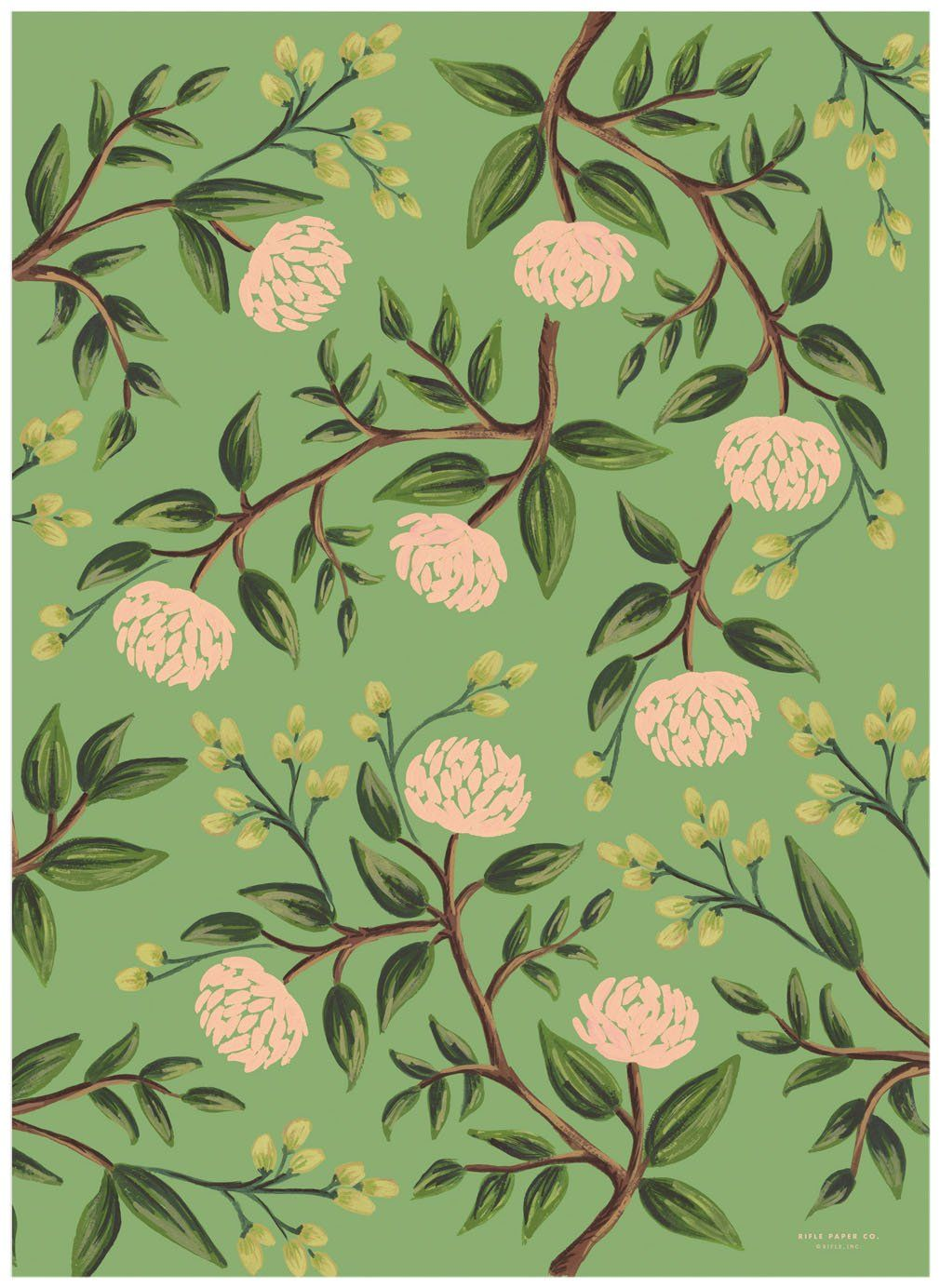 Rifle Paper Emerald Peonies Wrapping Sheets, 3 Sheets