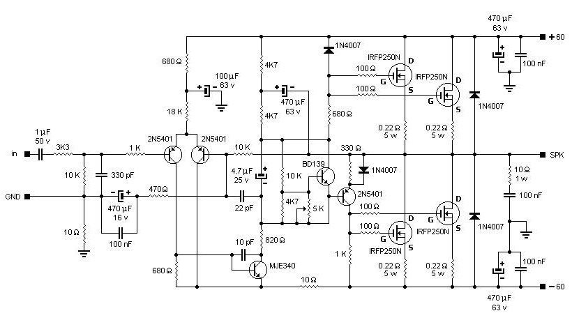 2000w Power Amplifier Circuit Diagram Dimplex Electric Baseboard Heater Wiring 200w Mosfet Based Irfp250n Schematic Design Audio In