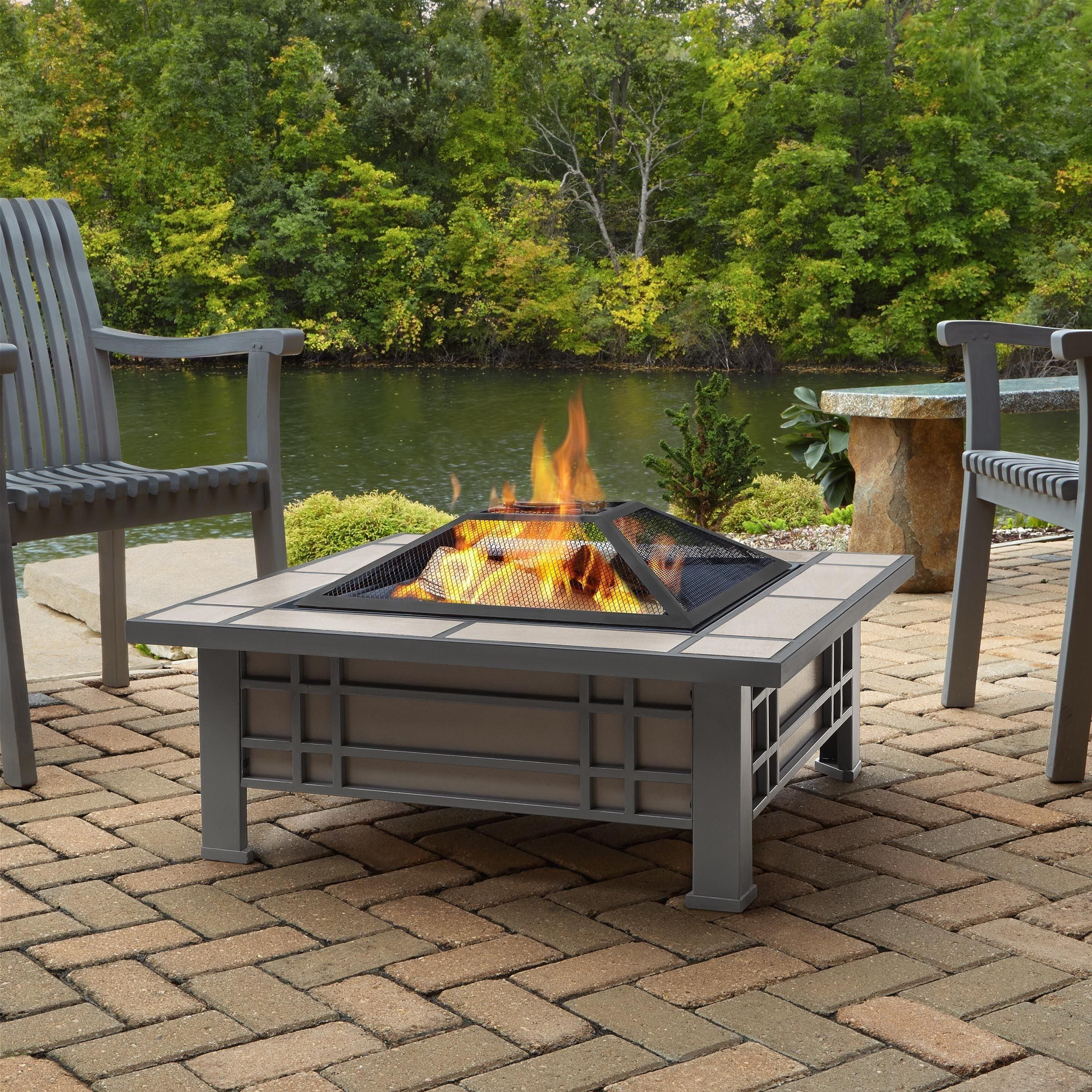 Real flame morrison grey and cream tile outdoor wood burning fire pit real flame morrison outdoor fire pit gray w cream metal outdoor décor