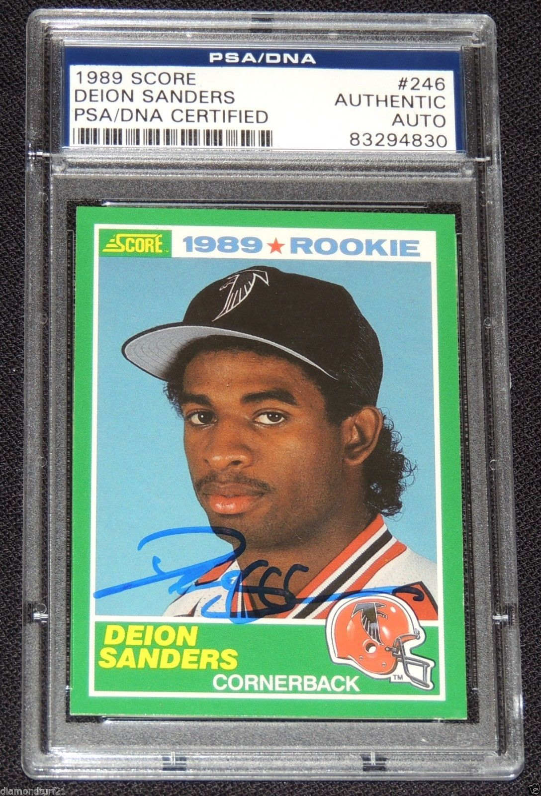 1989 Score Psa Dna Deion Sanders Auto Rookie Falcons 49ers Cowboys Ravens 4830 Atlanta Falcons Signs Football Trading Cards Atlanta Falcons