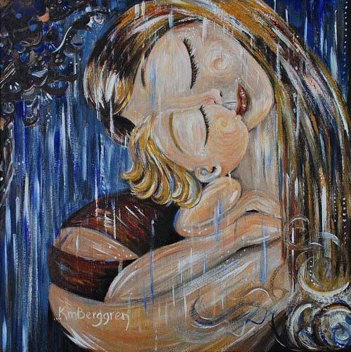 mother and child blue rain art print - Undiluted - archival signed 12x12 blonde motherhood print on Etsy, $29.00