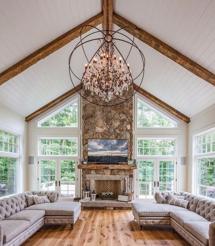 56 Gorgeous Farmhouse Living Room Design Decor Ideas Home 25 Vaulted Ceiling Living Room Farm House Living Room Living Room Design Decor #simple #farmhouse #living #room #decor