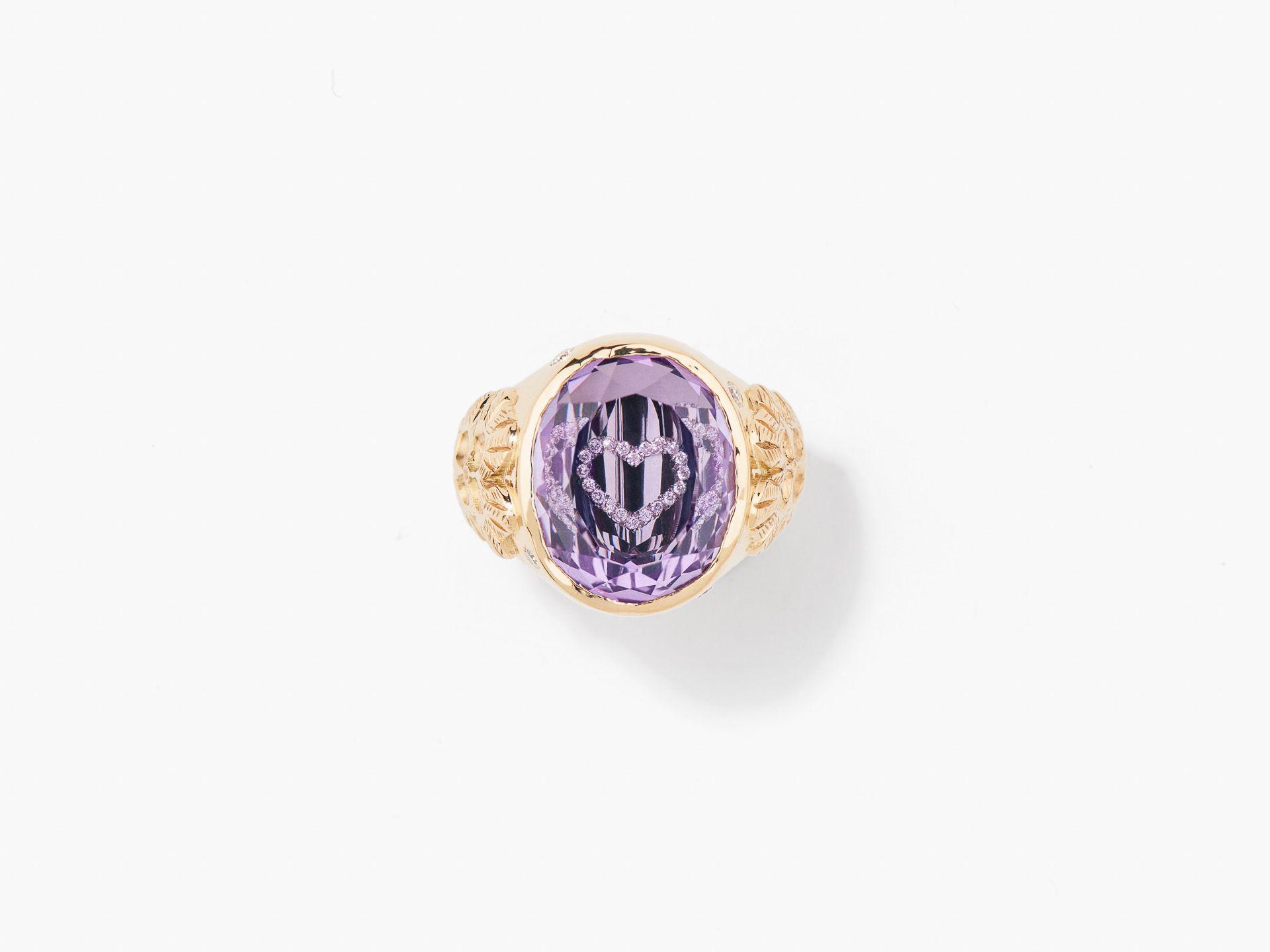 Rose de France & Diamond signet ring Aurélie Bidermann from Fine Jewelry Line