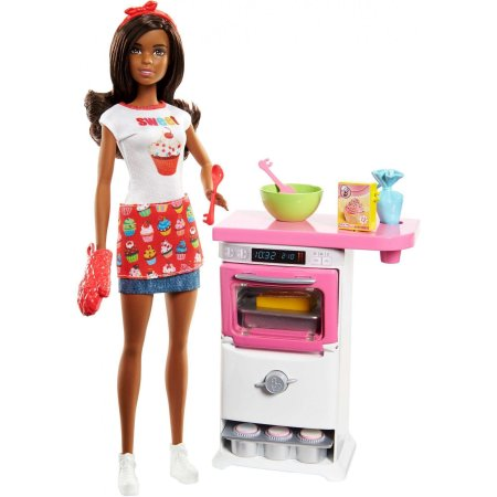 Barbie Bakery Chef Nikki Doll and Playset Brunette Doll Oven Cupcakes