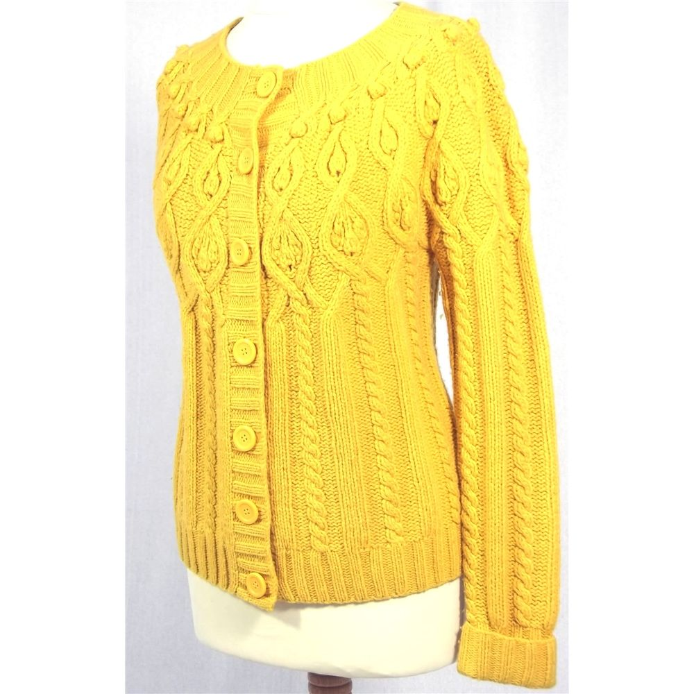 Monsoon Size 12 Vintage-Styled Mustard Yellow Chunky Cable Knit ...