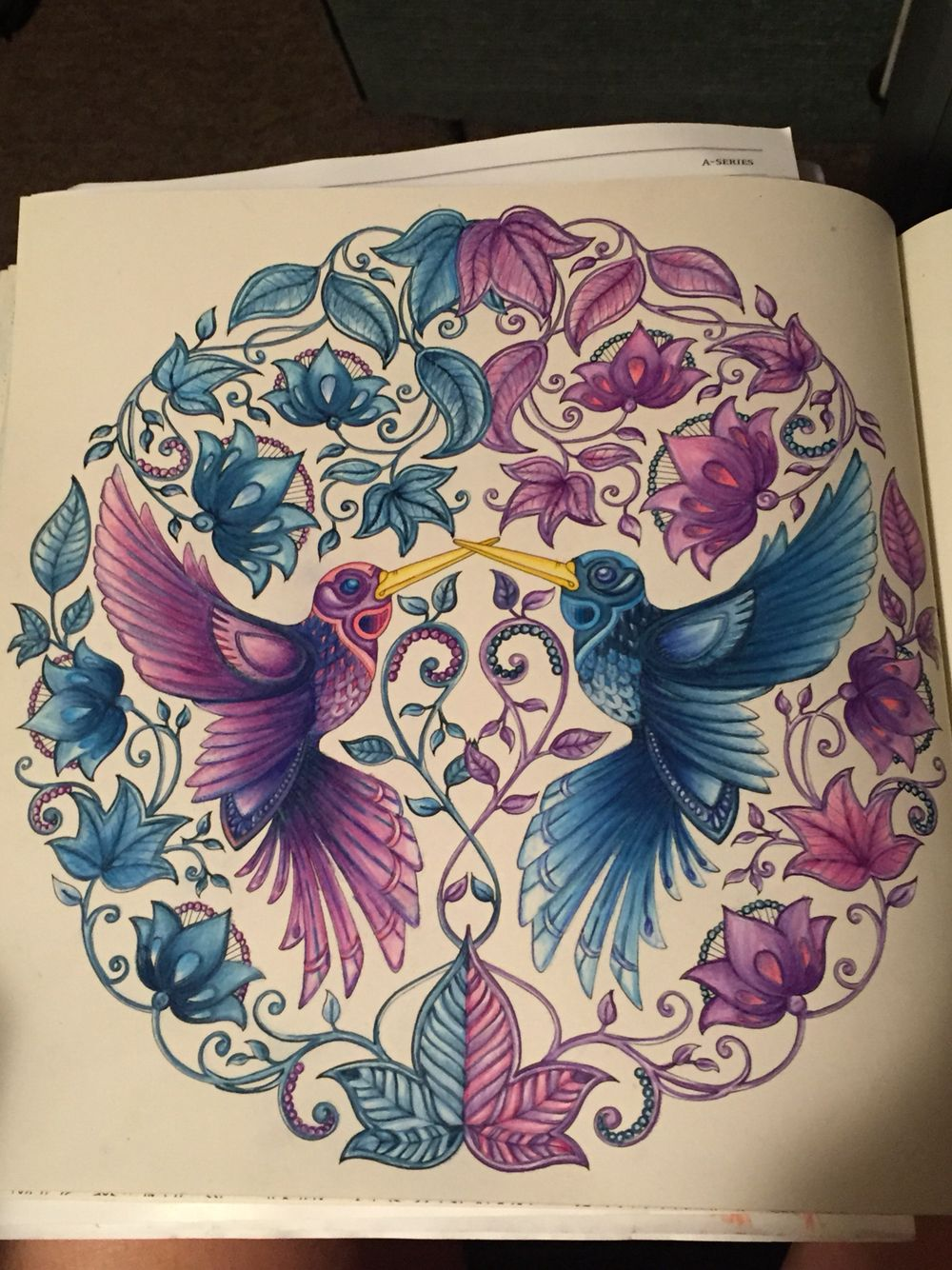Just Finished The Two Love Birds Secret Garden Coloring Book
