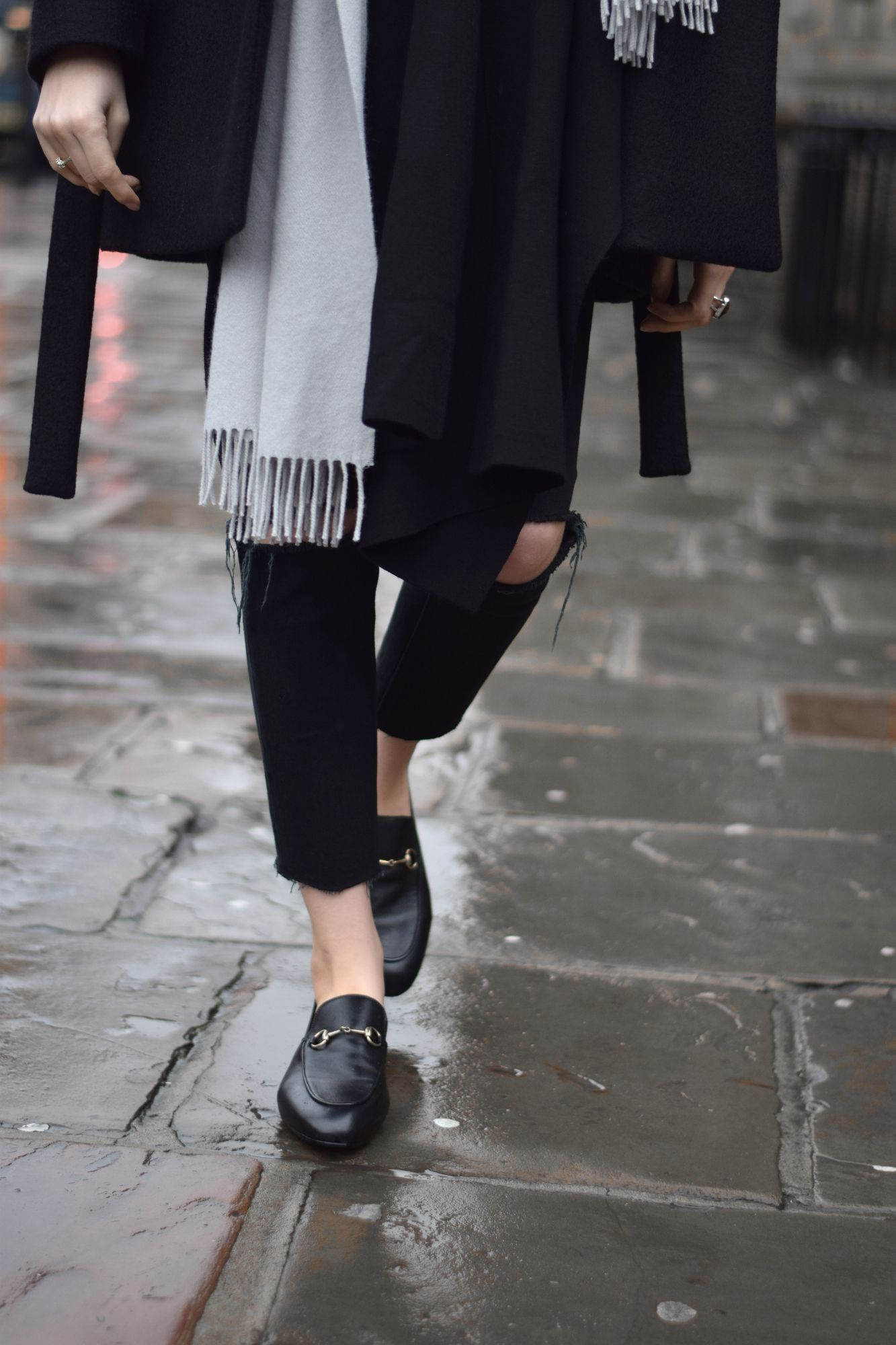 4d66c6843 Black coat, grey scarf, torn jeans & Gucci loafers | @styleminimalism