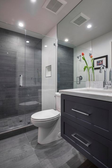 Walk In Shower Small Bathroom Idea With Frameless Hinged Shower