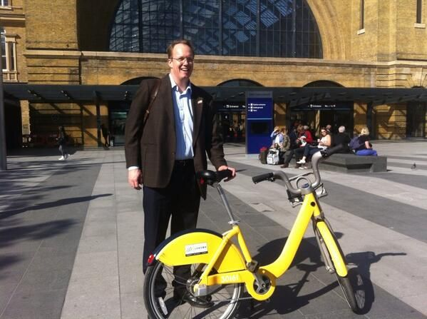 A very pleased looking Olaf Haitink tweeted this great picture after taking a yellow bike for a ride around Kings Cross.