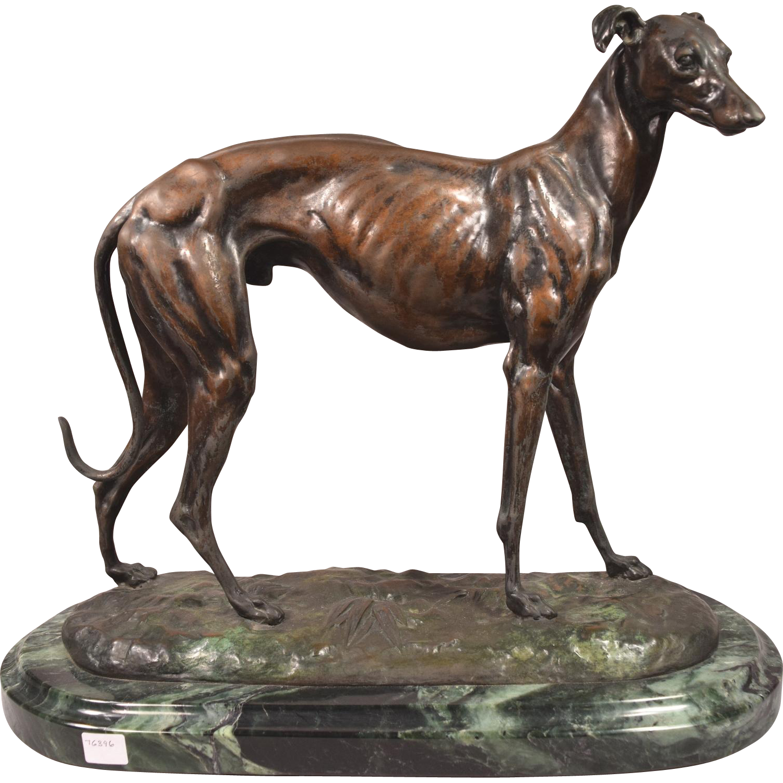 Antique Bronze Greyhound Whippet Sighthound Rare