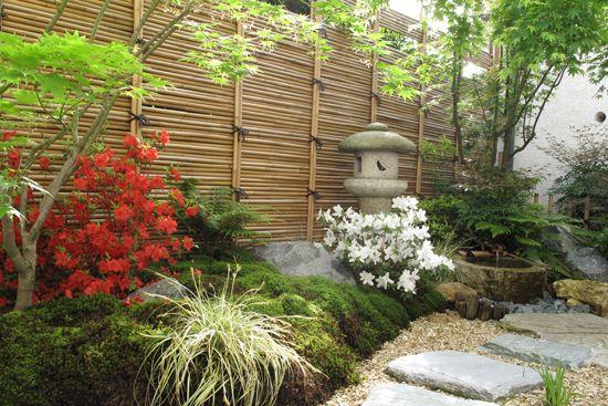 Un décor japonais dans un petit jardin à lombre (scènes de ...