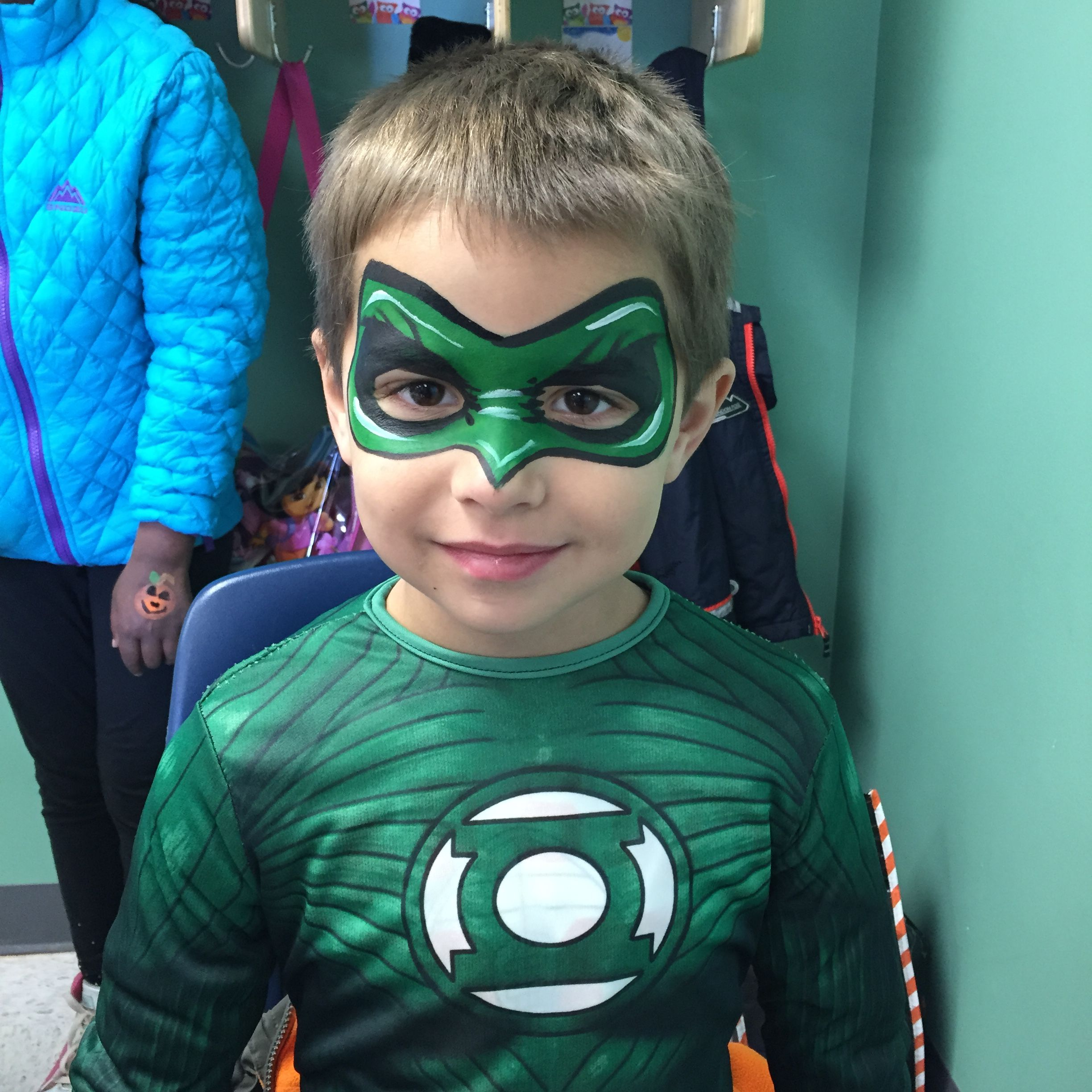 Green Lantern face painting A Face Painting by Marli