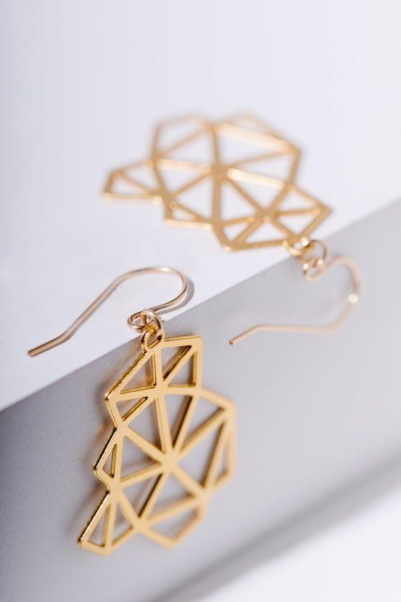 Geometric dangle earrings | Earrings, Jewelry, Dangle earrings