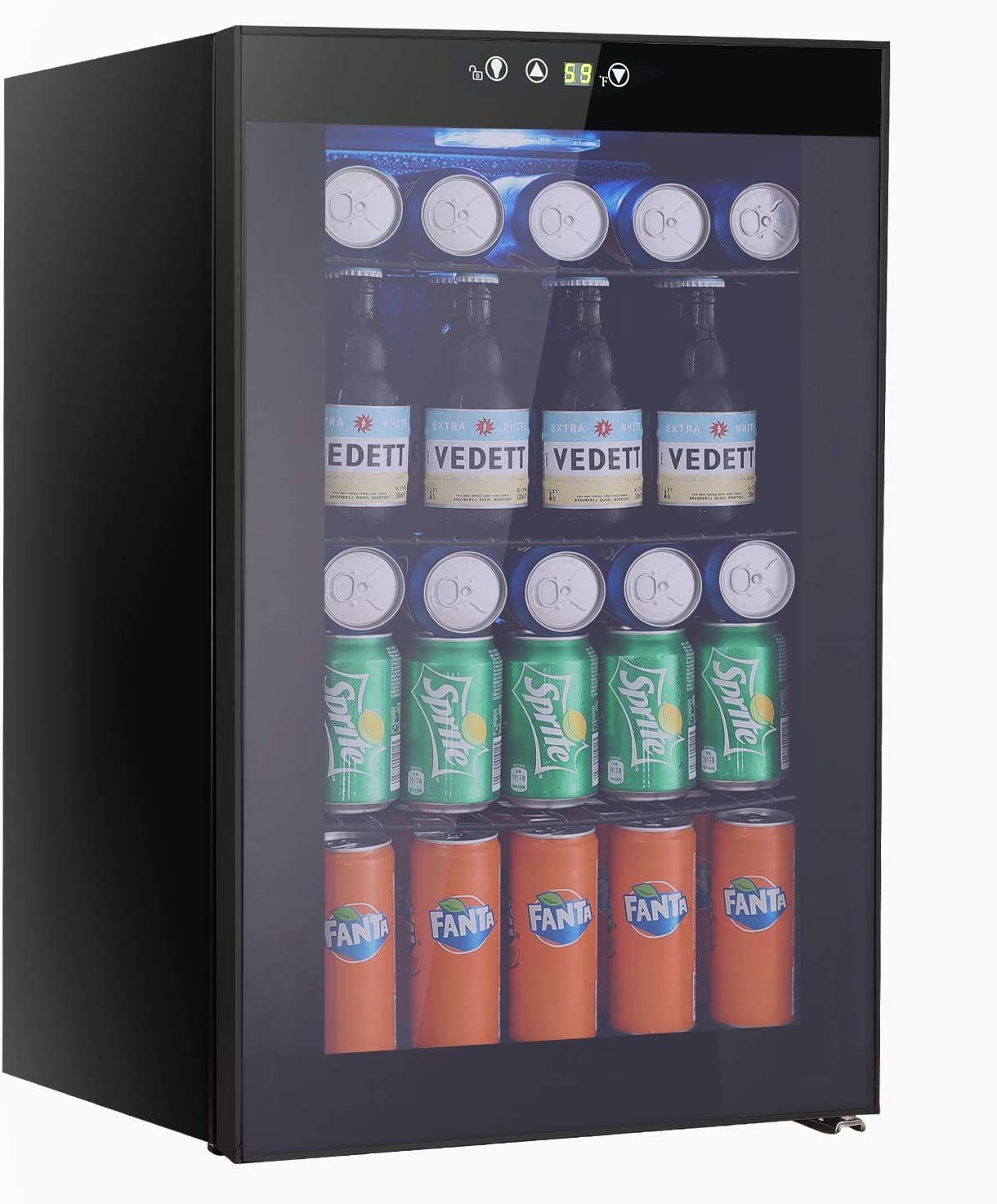 Beverage Refrigerator And Cooler 85 Can Or 60 Bottles Capacity With Smoky Gray Glass Door For Soda In 2020 Beverage Refrigerator Drinks Fridge Refrigerator Cooler