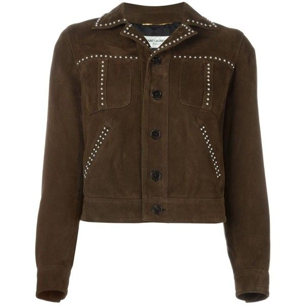 Saint Laurent studded western jacket ($4,205) ❤ liked on Polyvore featuring outerwear, jackets, brown, studded jacket, western jacket, cowboy jacket, long sleeve jacket and brown jacket