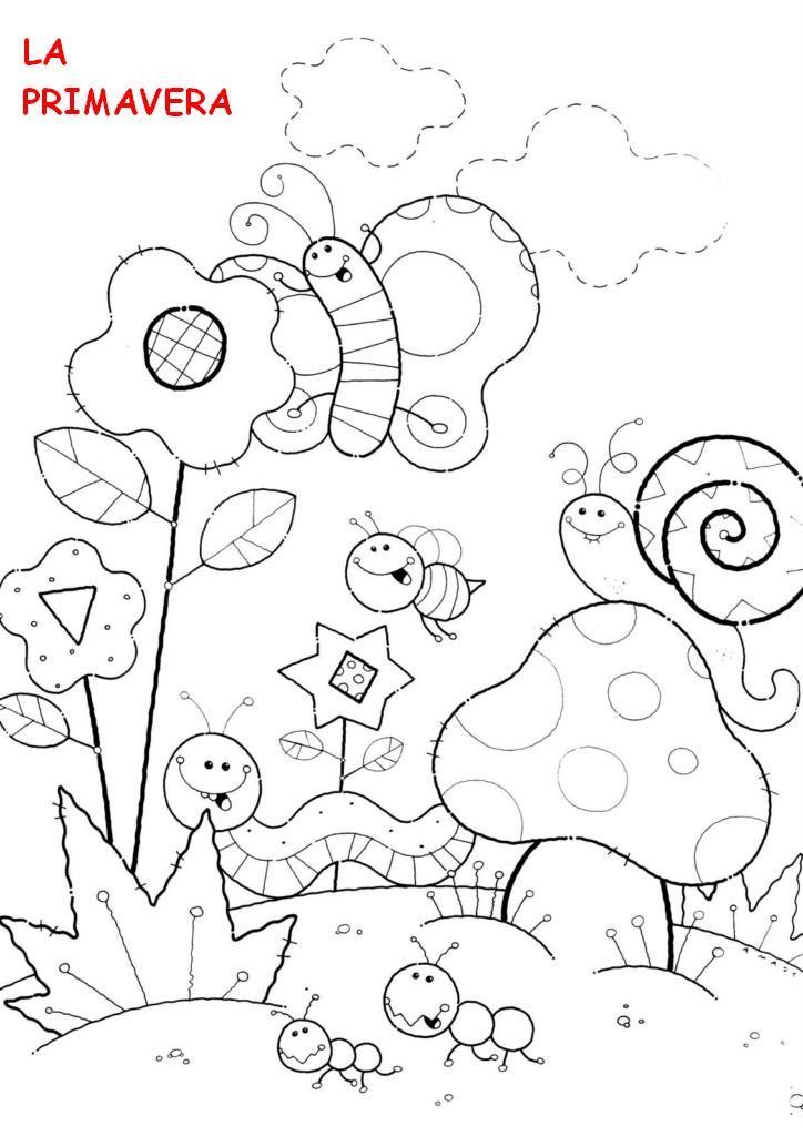 paisaje de primavera para colorear - Buscar con Google | Dibujos ...