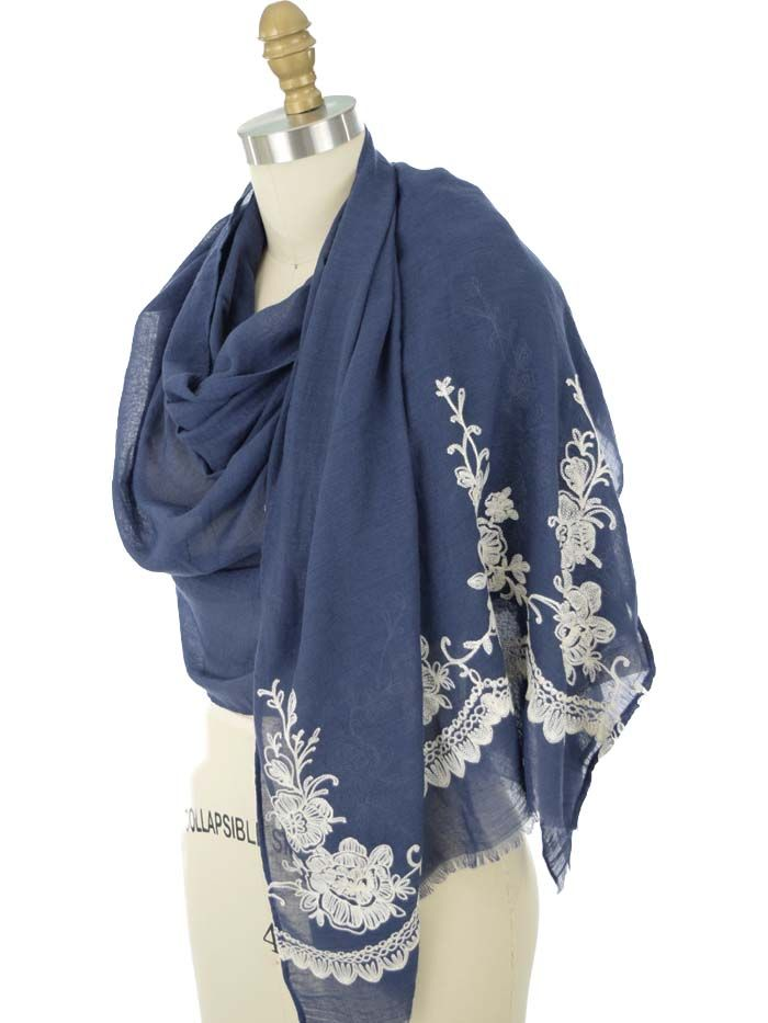 4474313fc5a p Navy blue fringed scarf with ivory floral embroidery design. Soft ...