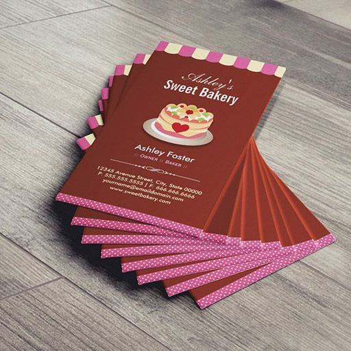 Sweet Bakery Shop Custom Cakes Chocolates Pastry Business Card - Cake business card template