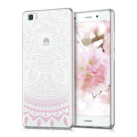 058477ab611 kwmobile Funda TPU silicona transparente para Huawei P8 Lite en rosa claro  blanco transparente Diseño sol indio