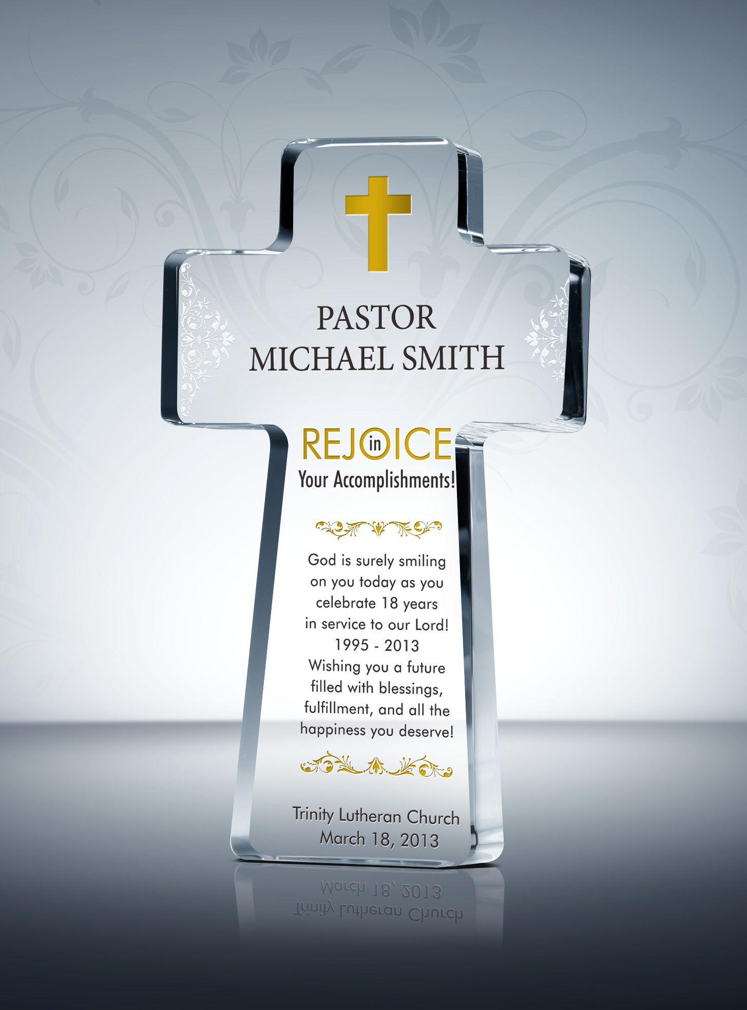 Pastor Appreciation Cross Plaques and Sample Wordings ...