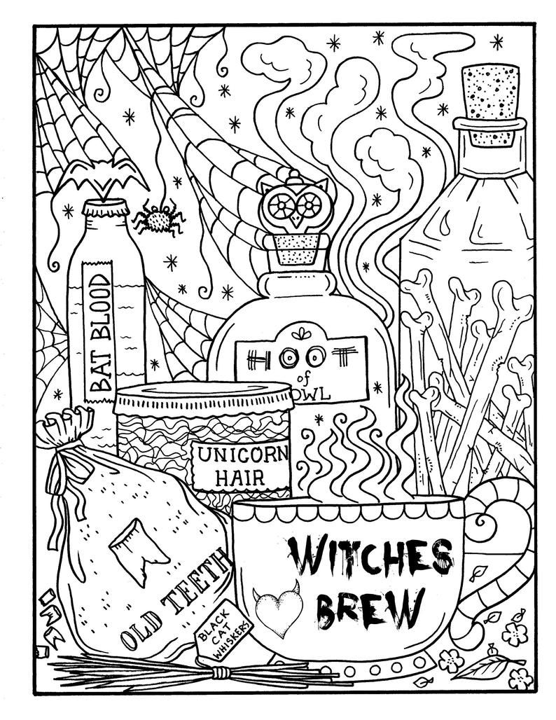 Witchy Brew Coloriage Page PDF. Coloration d'Halloween