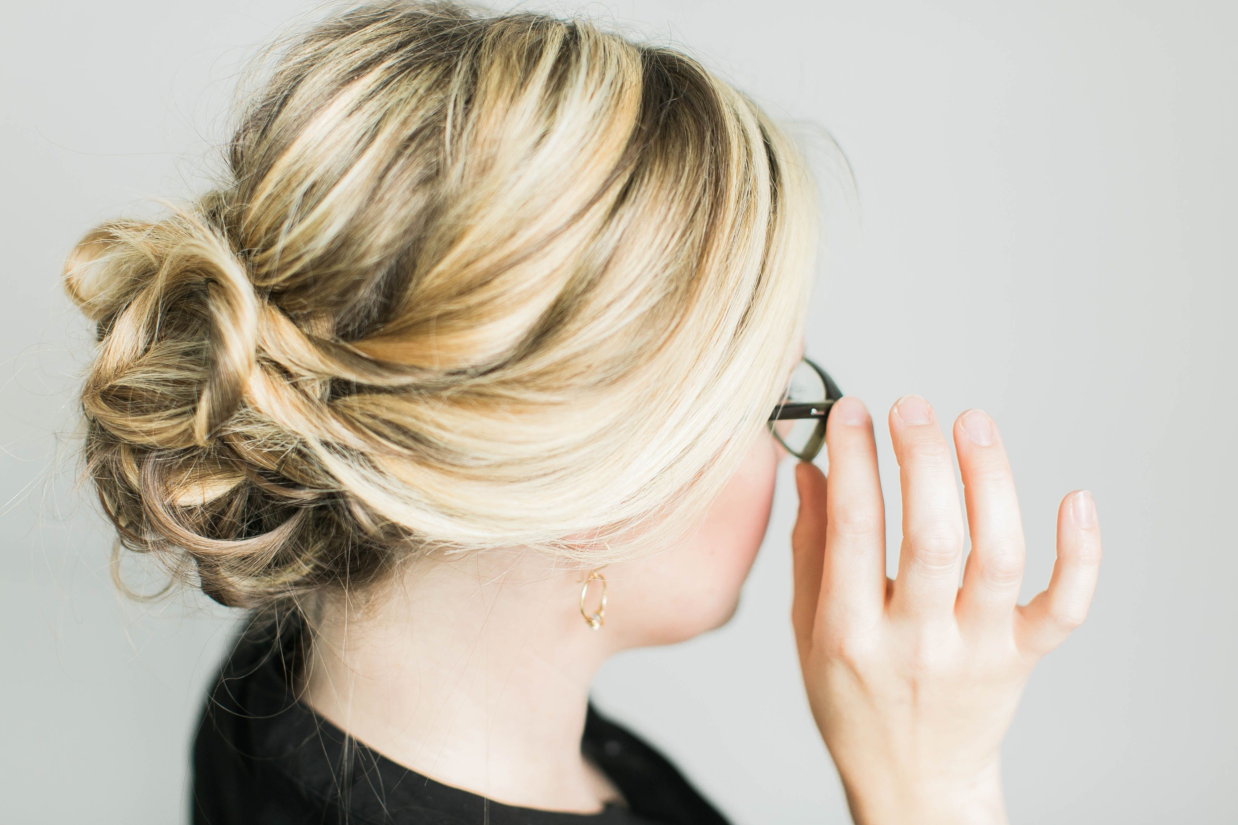 A twisted updo perfect for glasses wearers! Created in partnership ...