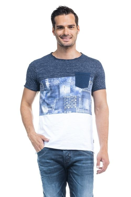 7ec7f8a40e Salsa Store - Camiseta con manga corta impresión indigo y bolsillo frontal