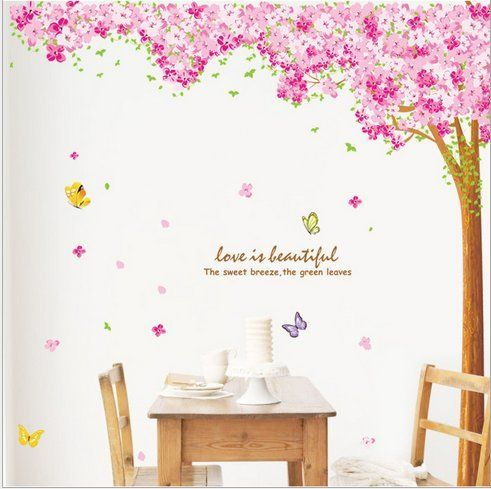 Hunnt® Large Pink Sakura Flower Cherry Blossom Tree Wall Sticker Decals PVC  Removable Wall Decal For Nursery Girls And Boys Childrenu0027s Bedroom
