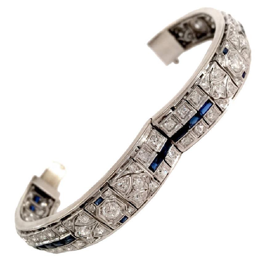 Art Deco Sapphire Diamond Platinum Bangle, circa 1930