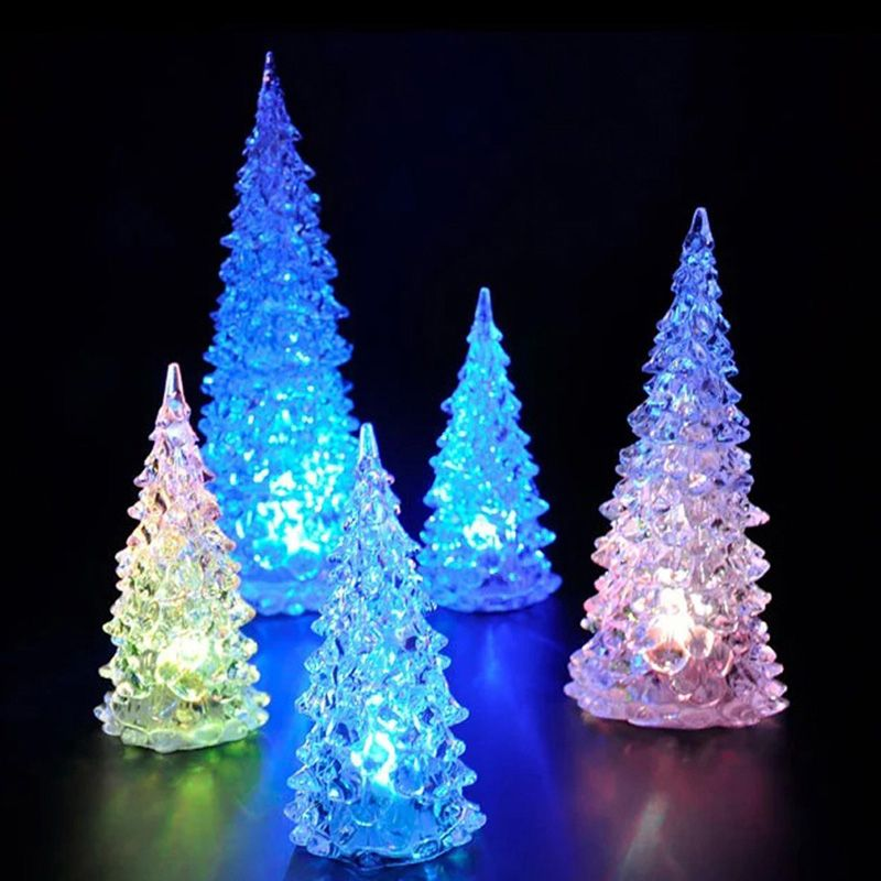Color Changing Crystal LED Night Light Christmas Tree Shape Decoration LED  Desk Lamp Battery Included