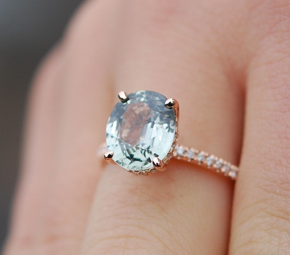 Blake Lively Sapphire Engagement Ring 14k Rose Gold 3.43ct Jasmine ...