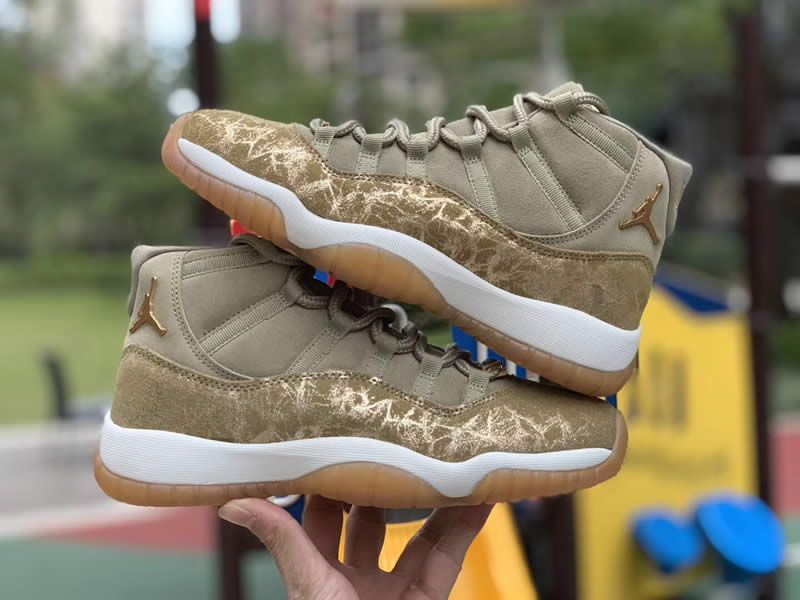 save off afa81 cdc6e air jordan 11 netural olive lux green womens gs aj11 ar0715 ...