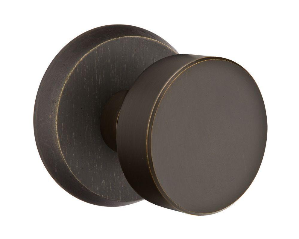 Emtek bzrn bronze round knob rustic modern passage door knob set