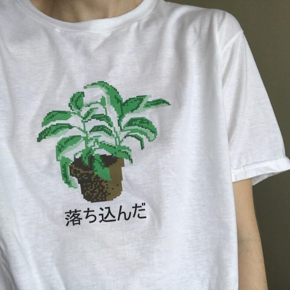 0aed8e6e itGirl Shop PIXCEL AESTHETIC JAPANESE SIGNS PLANT PRINT T-SHIRT Aesthetic  Apparel, Tumblr Clothes, Soft Grunge, Pastel goth, Harajuku fashion.