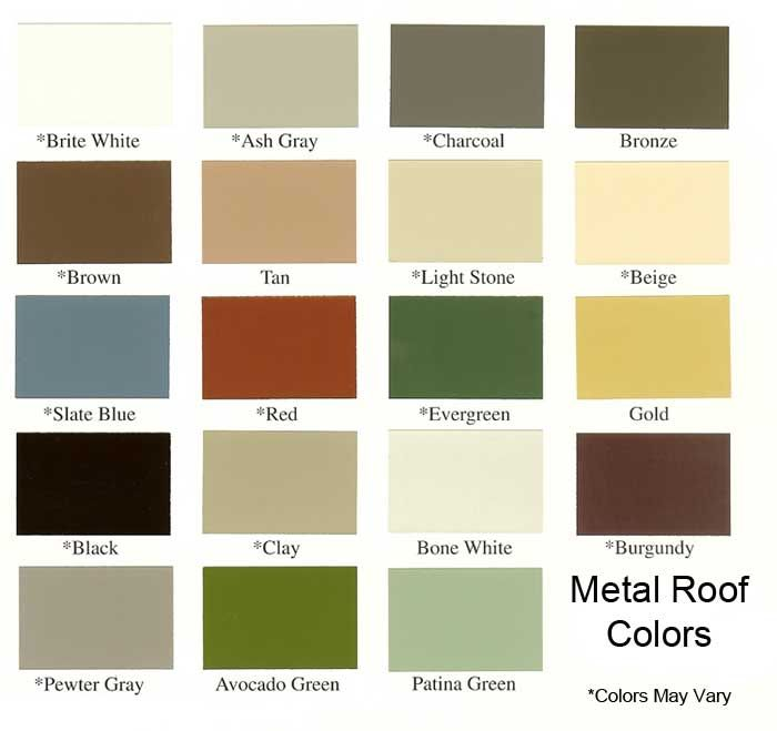 Metal Roofs Color Chart Metal Roof Color Chart from Armor Metal