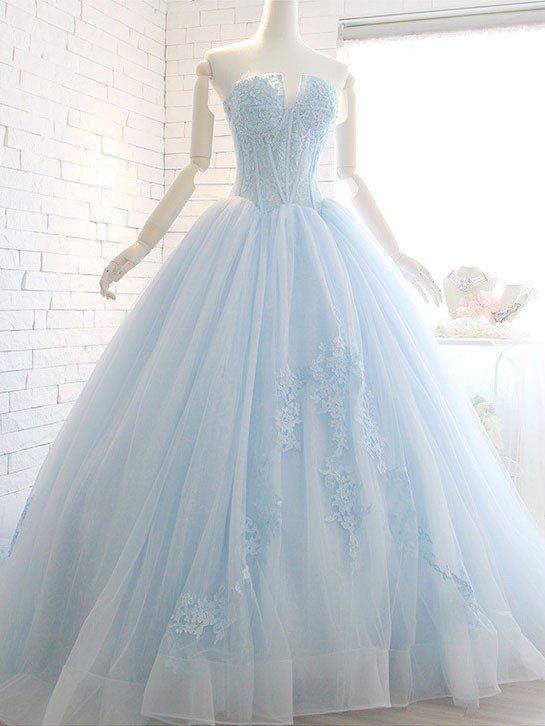 1afa0e794864 Powder Blue Ball Gown Lace Formal Evening Dress in 2019 | dream ...