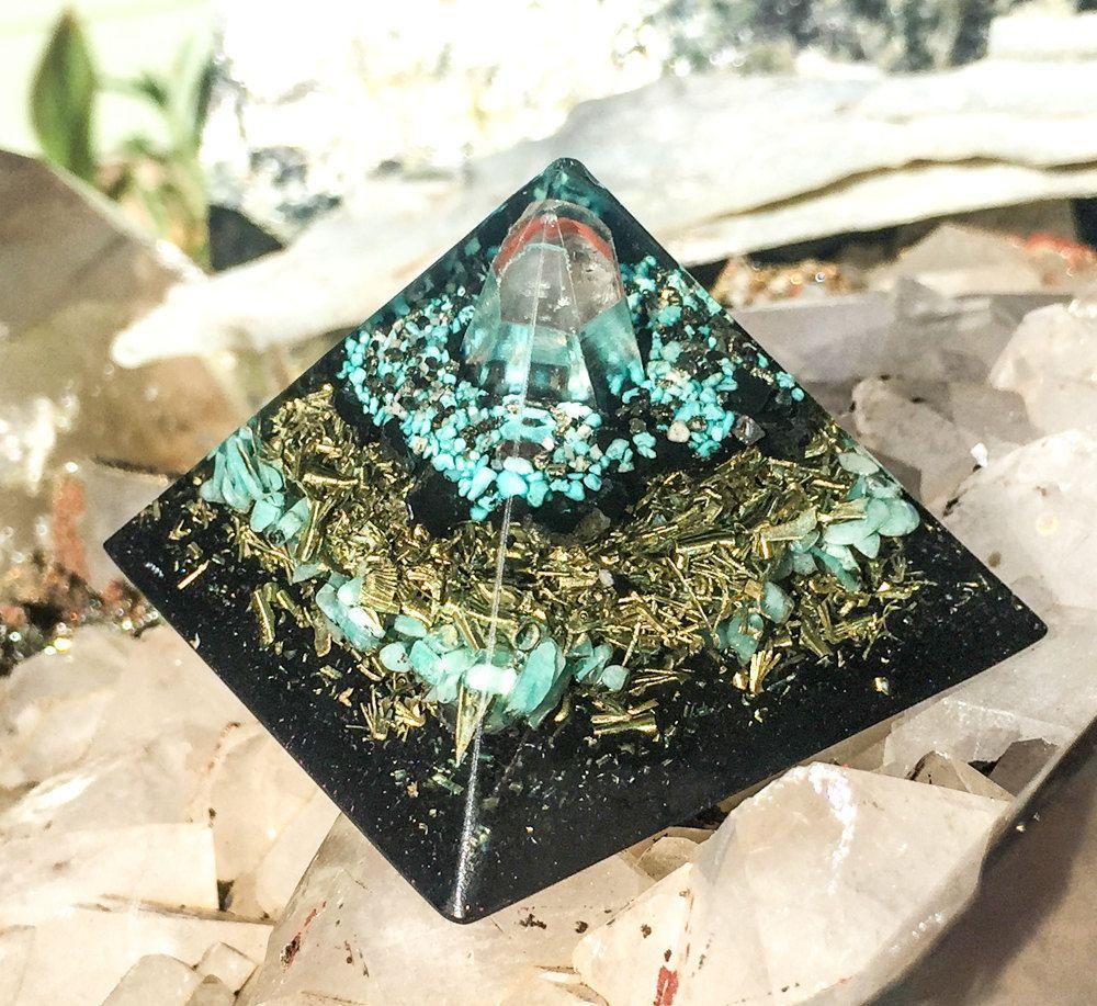 Shungite Orgonite Pyramid Orgone Generator with Amazonite