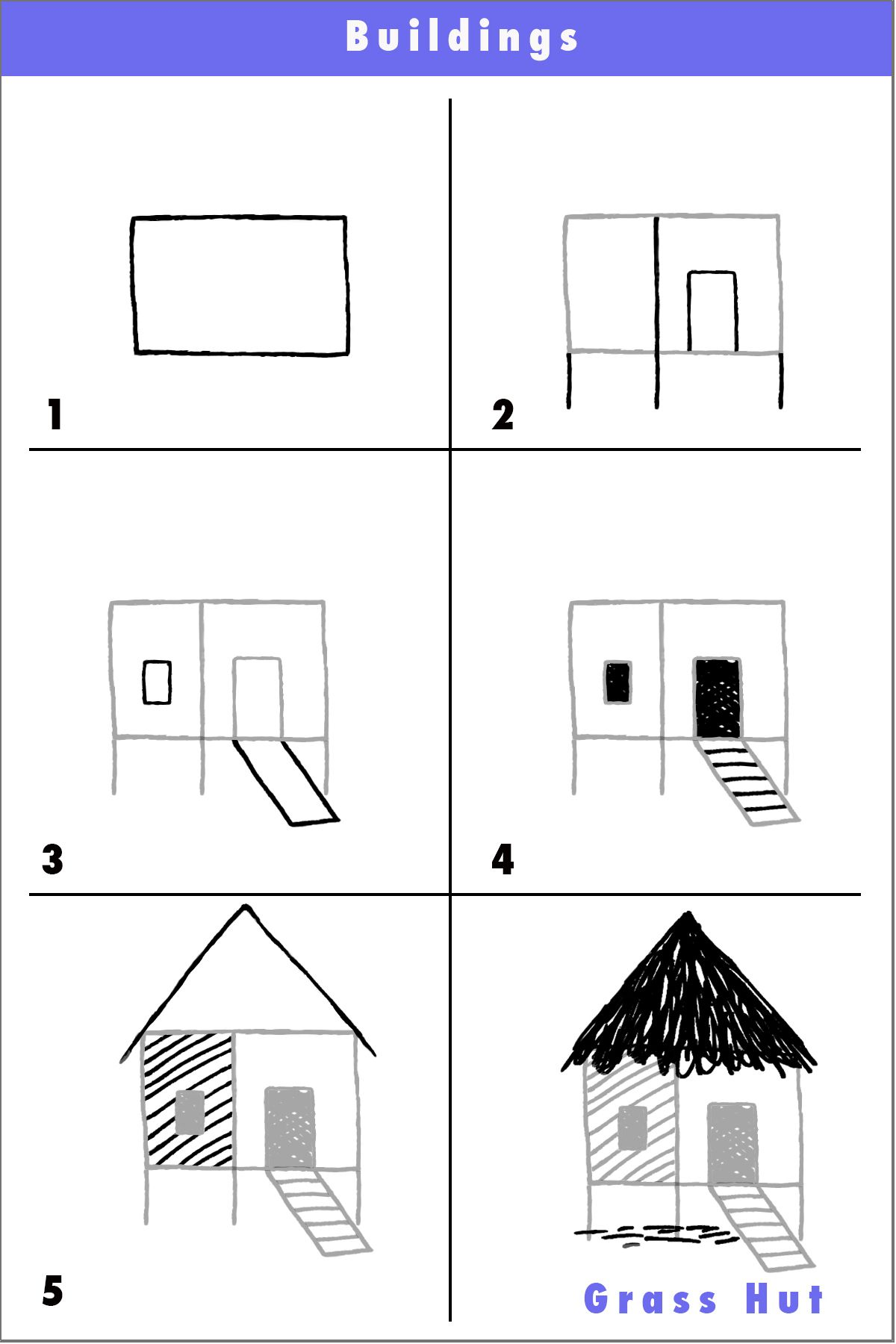 Draw A Thatched Hut