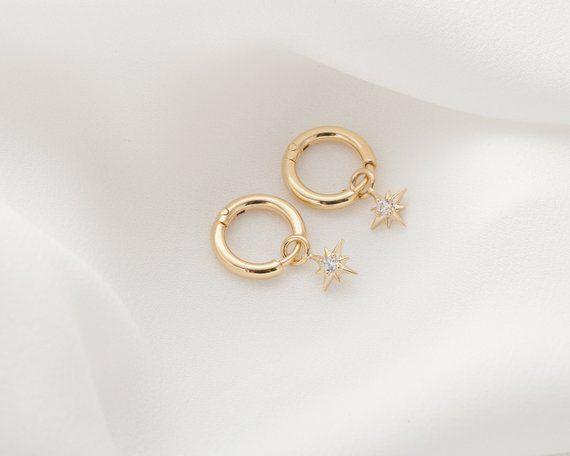 5a0a8d7d8 Gold Celestial Hoop Earring, CZ Star Charm Hoop, Dainty Star Dangle Earrings,  Small CZ Star Charm Ea