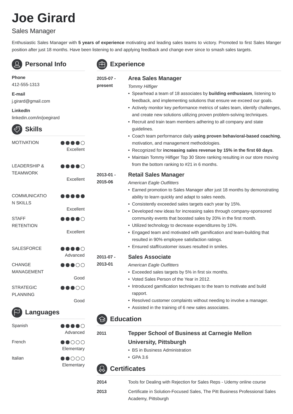 sales manager resume template crisp in 2020 Resume