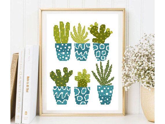 Modern cactus cross stitch pattern cute cacti cross stitch