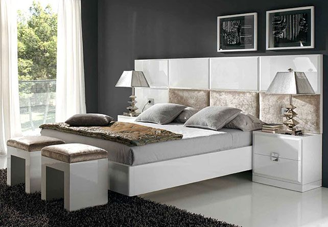 Cama y cabecero diseno atenea mueble fabricado en dm for Mueble salon lacado alto brillo
