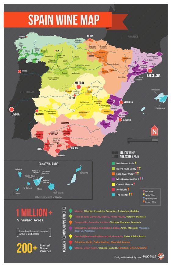 Mapa de las regiones vinícolas en España. Map of Spain Wine Regions #vino #curiosidades #vine: