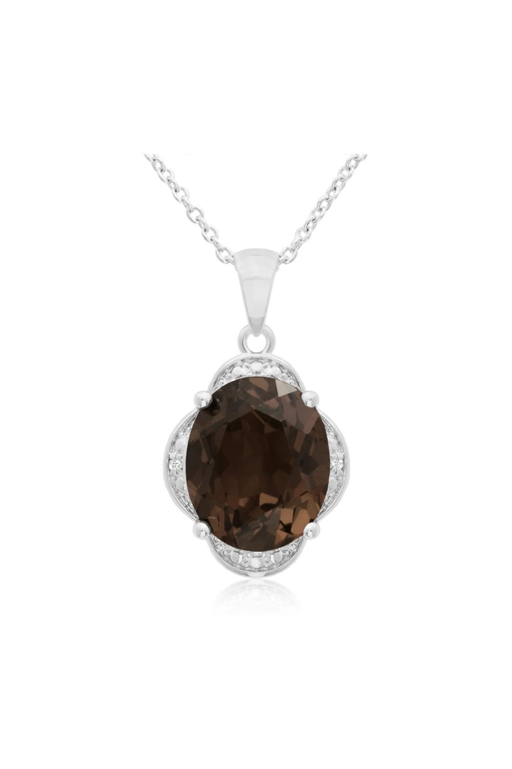 This necklace features a 12x10mm oval shape smoky quartz gemstone at 4.10 carats.  It is surrounded by sparkling diamonds in J-K color I1-I2 clarity at 0.01 carats.  Pendant is about 1/2 inch long.  This necklace comes with an 18 inch chain with spring-ring clasp and is crafted in platinum overlay.   Smokey Quartz Necklace by Passiana. New York City